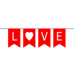Bunting flag garlant happy valentines day red vector