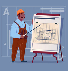 Cartoon african american builder explain plan of vector