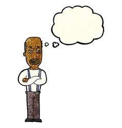 cartoon annoyed old man with thought bubble vector image