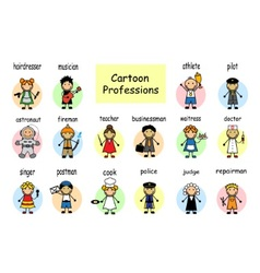 Cartoon set of professions vector