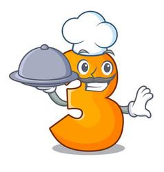 Chef with food cartoon number three on wooden door vector