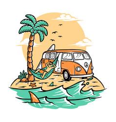 chill on summer beach vector image