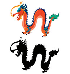 Chinese dragon and silhouette vector