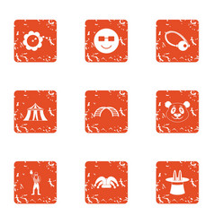 Circus style icons set grunge style vector