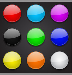Colored glass 3d buttons round icons on black vector