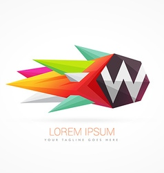 Colorful abstract logo with letter W vector