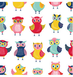 colorful seamless pattern with adorable owls on vector image