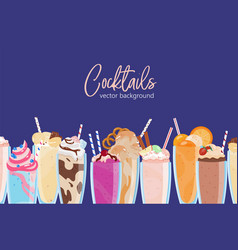 composition delicious milkshakes in glasses vector image