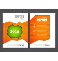 Cover Report Business Orange Green Hole Geometric vector image
