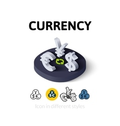 Currency icon in different style vector