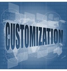 Customization word on digital binary touch screen vector