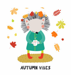 Cute autumn hedgehog vector