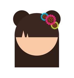 cute japanese doll head vector image