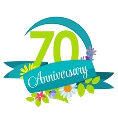 Cute Nature Flower Template 70 Years Anniversary vector