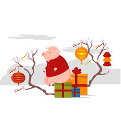cute pig sitting on box with gifts chinese new vector image