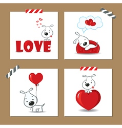 Cute Valentines day cards with funny puppy vector image