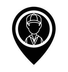 delivery worker with pointer location vector image