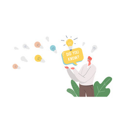 Did you know announcement man with speech bubble vector