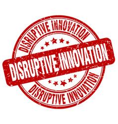 Disruptive innovation red grunge stamp vector