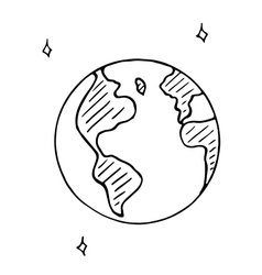 Doodle globe icon hand drawn earth vector