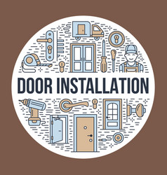 Doors installation repair banner vector