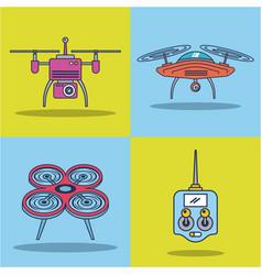 drone icon set remote control aerial camera view vector image