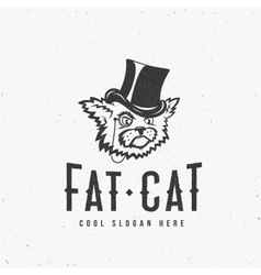 Fat Cat Abstract Vintage Sign Symbol or vector