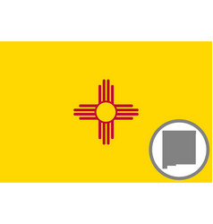 flag and map new mexico vector image