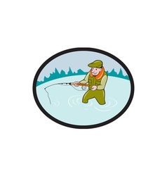 Fly Fisherman Casting Fly Rod Oval Cartoon vector