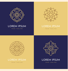 four abstract linear geometric logo templates vector image