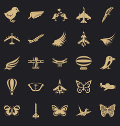 Fowl icons set simple style vector