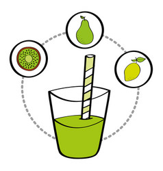 fresh smoothie juice drink fruit lemon pear and vector image