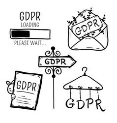 gdpr security internet doodle vector image