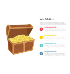 gold money box infographics template with 4 vector image
