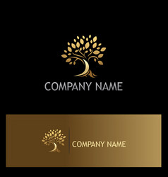 Gold tree nature logo vector