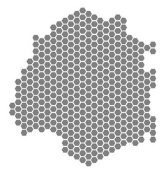 Gray hexagon thassos greek island map vector