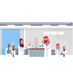 group arabic scientists working with microscope vector image