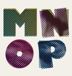 Halftone dots font dirty grunge color pixels print vector image