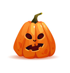 Halloween pumpkin with shocked emotion on face vector