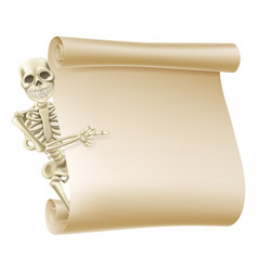 halloween skeleton scroll vector image
