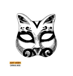 Hand drawn venetian carnival cat mask vector