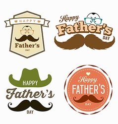 Happy Fathers day colorful labels logo set vector image