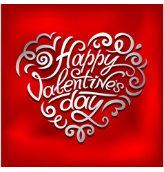 happy valentines day typographic lettering on pink vector image