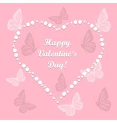 heart love with butterflies vector image