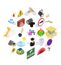 Hero icons set isometric style vector