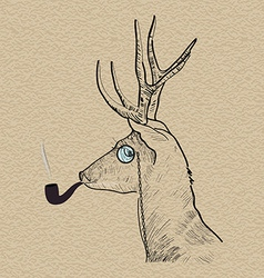 Hipster reindeer smoking tobacco pipe vector image