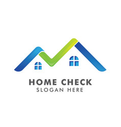 home logo template with check mark logo for real vector image