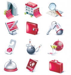 Hotel service icon set vector
