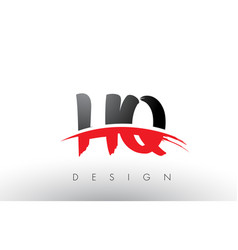Hq h q brush logo letters with red and black vector
