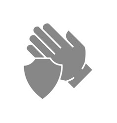 human hand with shield grey icon treatment hand vector image